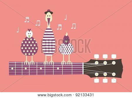 Birds On A Guitar Neck