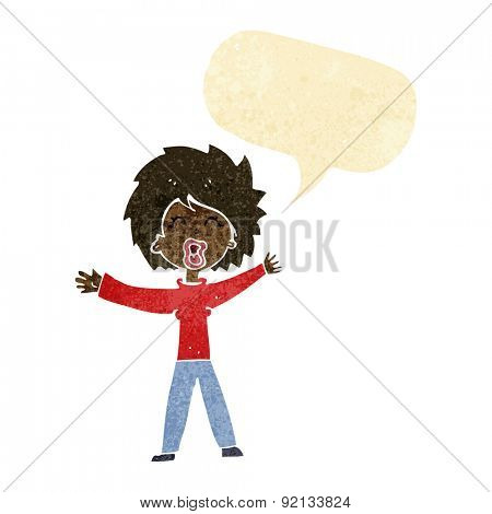cartoon woman shouting with speech bubble