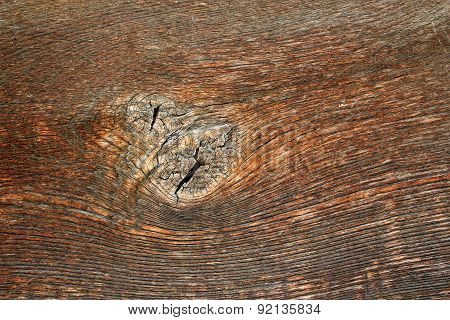 Knot On Old Oak Wood Plank