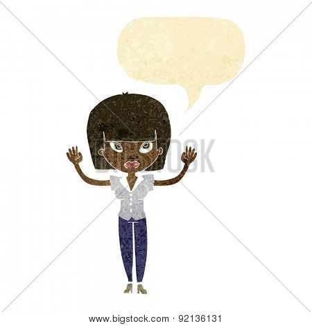 cartoon woman with raised hands with speech bubble