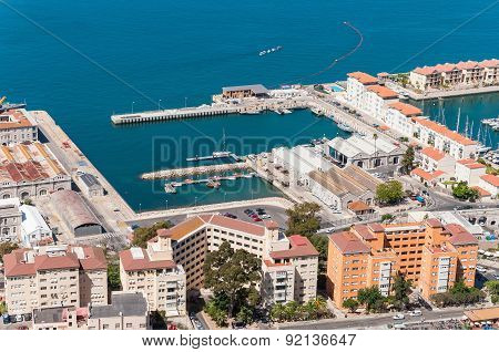 Aerial View Over Port And City Of Gibraltar