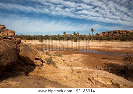 Oued in the desert of Sahara
