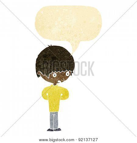 cartoon nervous boy with speech bubble