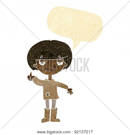 cartoon boy in poor clothing giving thumbs up symbol with speech bubble