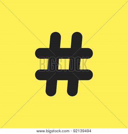 black hashtag icon isolated on yellow background