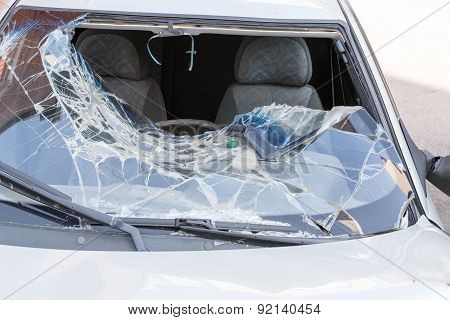 Broken Windscreen Of A Car