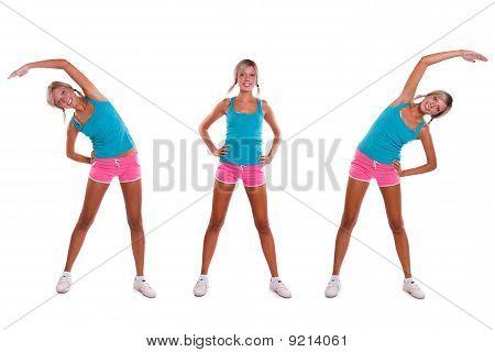 Woman do exercises