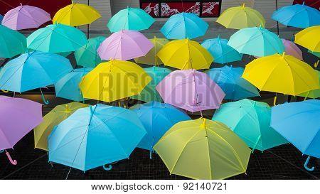 Umbrellas Hanged On A Lines In Umbrella Park
