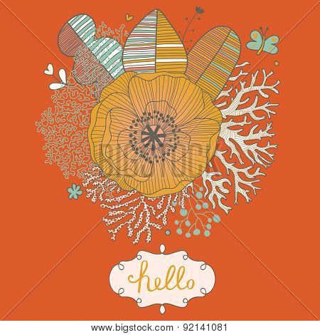 Bright natural card in vector. Floral background made of leafs, corals, poppy flower and butterflies in stylish cartoon style