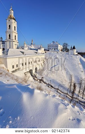 Tobolsk Kremlin with cathedral belfry in a winter day