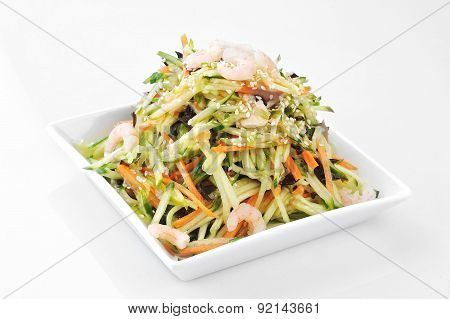 Asian Salad Served On Plate Isolated On White