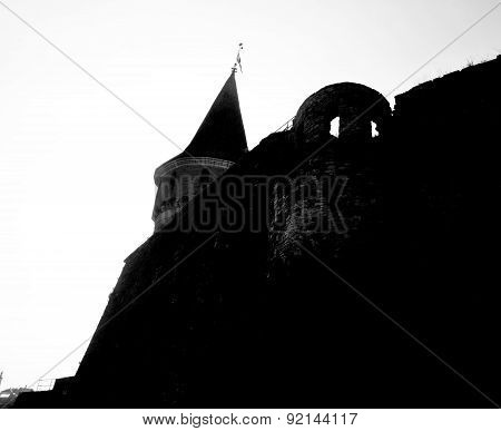 Castle Wall And Tower Medieval Fortification Silhouette