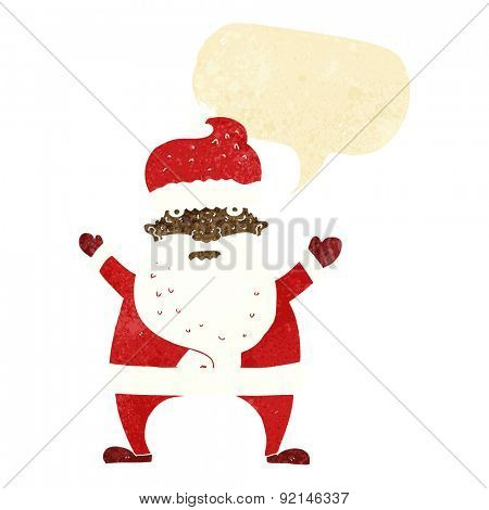 cartoon ugly santa claus with speech bubble