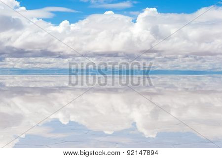Lake Salar de Uyuni with thin layer of water