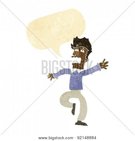 cartoon man panicking with speech bubble