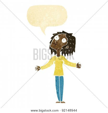 cartoon curious woman looking upwards with speech bubble