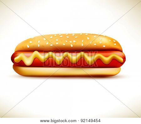 bun with sausage (hot dog) isolated on a white background