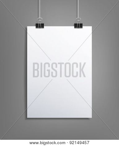 background with a piece of paper hanging on the wall (element for design, template)