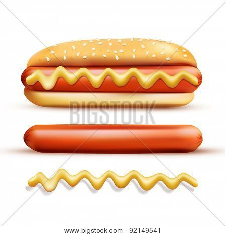 set consisting of elements: a bun, mustard, sausage ( isolated on a white background)