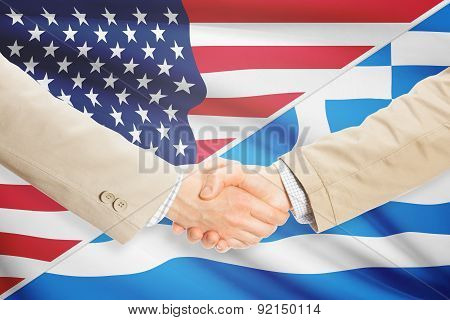Businessmen Handshake - United States And Greece