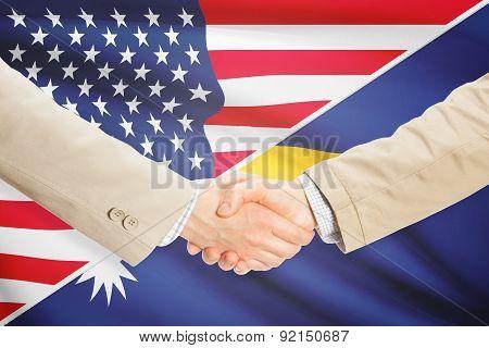 Businessmen Handshake - United States And Nauru