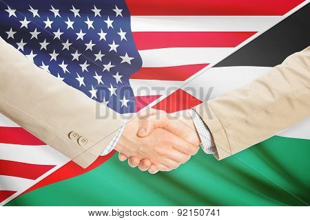 Businessmen Handshake - United States And Palestine