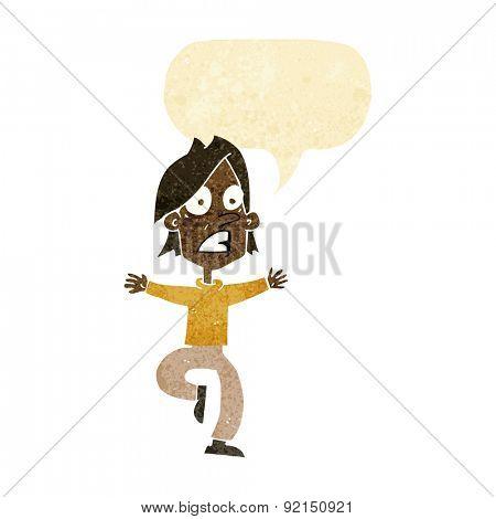 cartoon panicking man with speech bubble