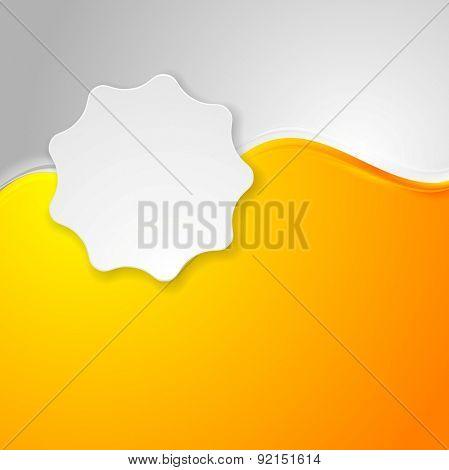 Bright orange waves and white label sticker. Vector background