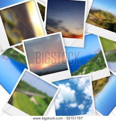 Polaroid photos abstract background. Vector design