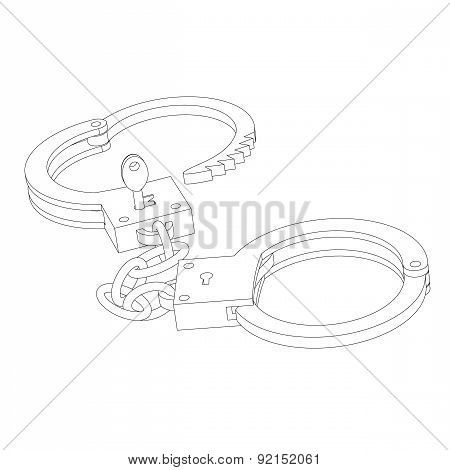 Iron Handcuffs Opened With A Key Close-up On A White Background Circuit
