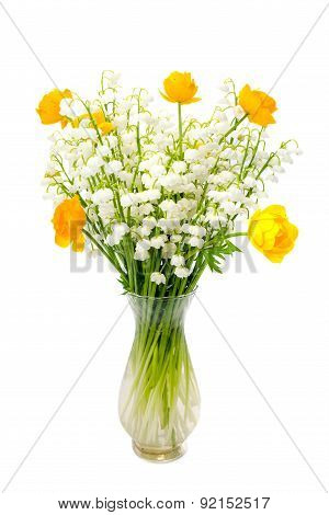 Bouquet Of Globe Flowers And Lily Of The Valley Isolated On White Background