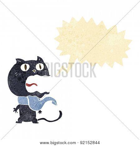 cartoon frightened cat with speech bubble