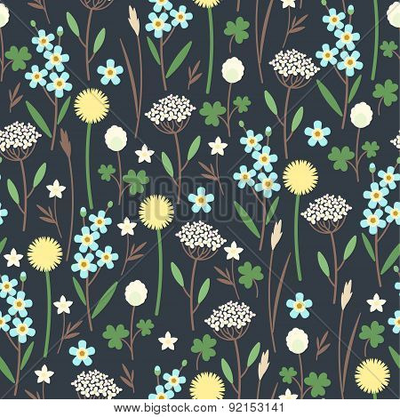 Meadow flowers seamless pattern
