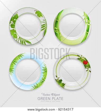 VECTOR set with green patterns on plates.