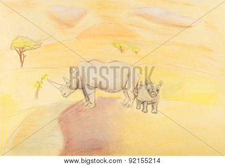 Children Drawing - Rhinoceros With Baby Rhino