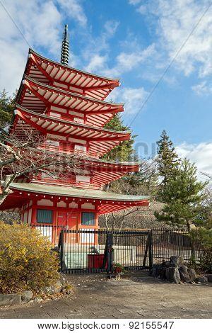 Beautiful Shureito pagoda in yamanashi city fuji mountain Japan