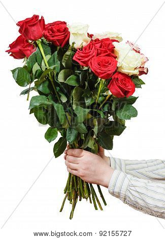 Two Hands Giving Bouquet Of Various Roses Isolated