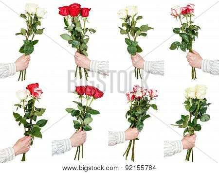 Set Of Three And Five Rose Flower Bouquets In Hand