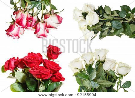 Set Of Various Rose Bouquets Isolated On White