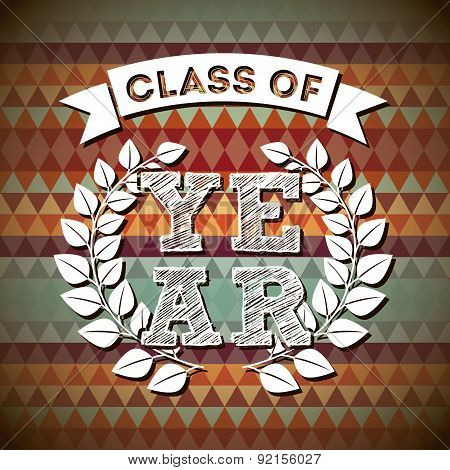 graduation design over  pattern background vector illustration