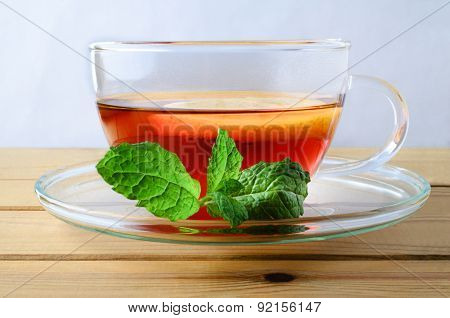 Lemon Tea With Mint Sprig Close Up