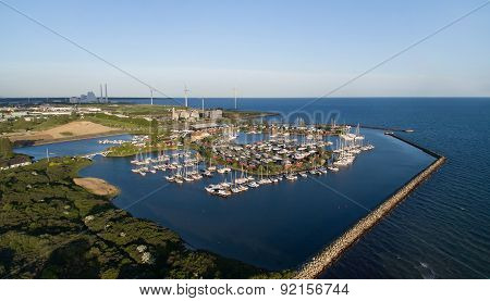 Aerial View Of Broendby Harbour, Denmark