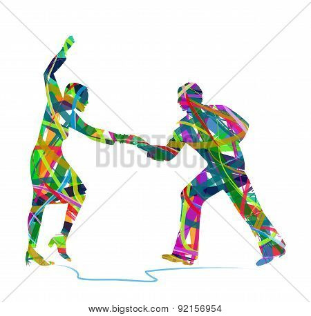 abstract dancers silhouette