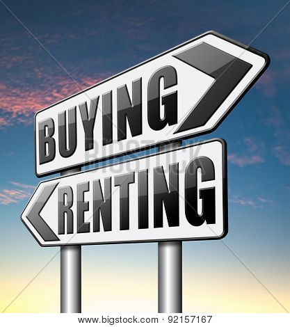 renting mortgage rent or buy a house or property and having a bank loan