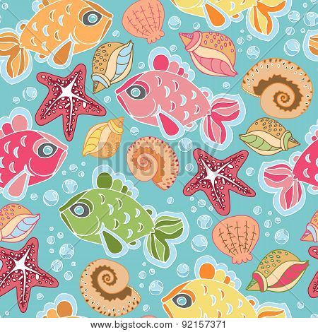 Hand Drawn Seamless Fish Pattern With Starfish, Bubbles, Shells. Colorful Vector Background With Car