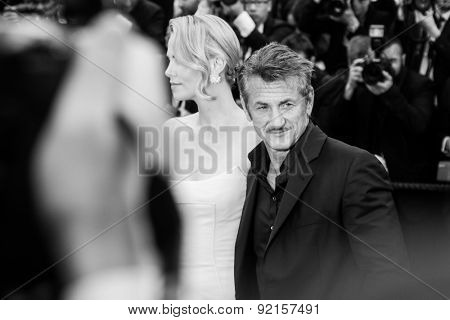 Actress Charlize Theron and Sean Penn attend the 'Mad Max : Fury Road' premiere during the 68th annual Cannes Film Festival on May 15, 2015 in Cannes, France.