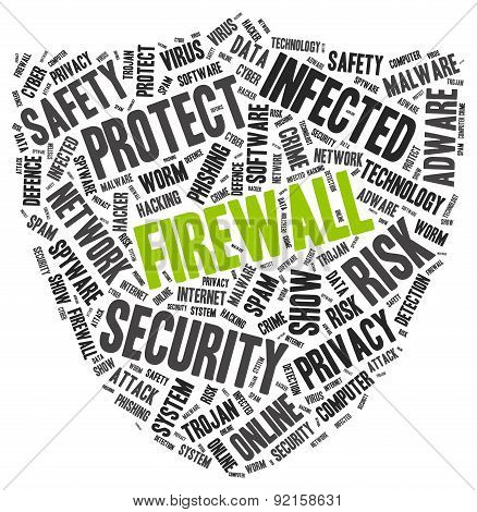 Firewall word cloud in a shape of shield