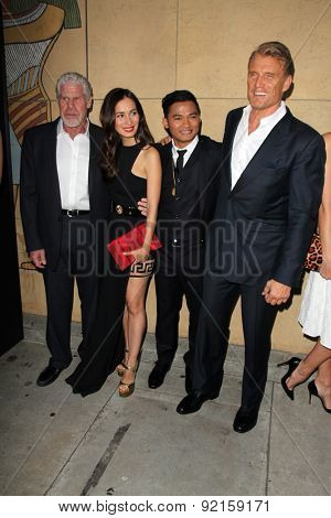 LOS ANGELES - MAY 6:  Ron Perlman, Celina Jade, Tony Jaa, Dolph Lundgren at the