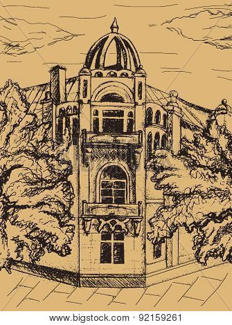 Vector Hand Drawn Brown Graphic Old Building Exterior Sketch With Trees And Many Small Details