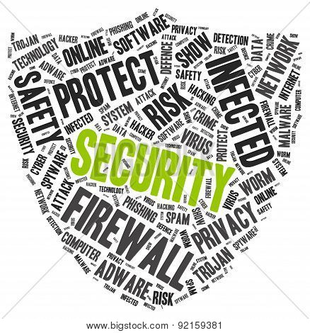 Security word cloud in a shape of shield